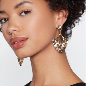 Anthropologie gold hammered DROP EARRINGS dangle